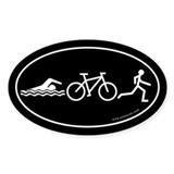 Triathlon Evolution Bumper Oval Sticker -Black
