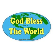 God Bless The World Oval Decal
