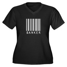 Banker Barcode Women's Plus Size V-Neck Dark T-Shi