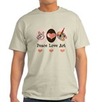Peace Love Art Teacher Artist Light T-Shirt