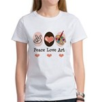Peace Love Art Teacher Artist Women's T-Shirt