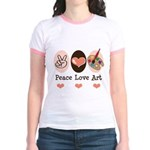 Peace Love Art Teacher Artist Jr. Ringer T-Shirt