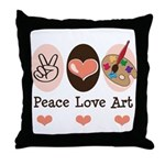 Peace Love Art Teacher Artist Throw Pillow