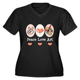Peace Love Art Teacher Artist Plus Size V-neck Tee