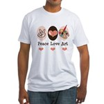 Peace Love Art Teacher Artist Fitted T-Shirt