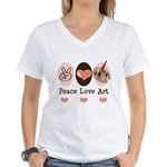 Peace Love Art Teacher Artist V-Neck Tee Shirt