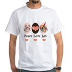 Peace Love Art Teacher Artist White T-Shirt