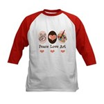 Peace Love Art Teacher Artist Kids Baseball Jersey