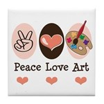 Peace Love Art Teacher Artist Tile Coaster