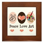 Peace Love Art Teacher Artist Framed Tile