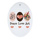 Peace Love Art Teacher Artist Oval Ornament