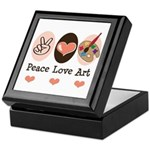 Peace Love Art Teacher Artist Keepsake Box