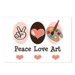 Peace Love Art Teacher Artist Postcards 8 Pack