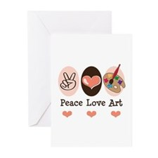 Peace Love Art Teacher Artist Greeting Cards 20 Pk
