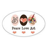 Peace Love Art Teacher Artist Oval Sticker