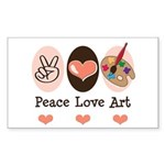 Peace Love Art Teacher Artist Rectangle Sticker