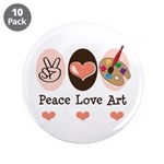 "Peace Love Art Teacher Artist 3.5"" Button 10"
