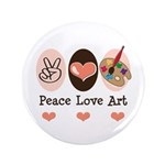 "Peace Love Art Teacher Artist 3.5"" Button 100"