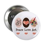 "Peace Love Art Teacher Artist 2.25"" Button 10"