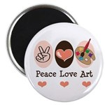 "Peace Love Art Teacher Artist 2.25"" Magnet 10"