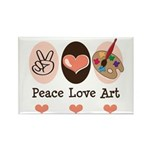 Peace Love Art Teacher Artist Rectangle Magnet (10