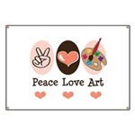 Peace Love Art Teacher Artist Banner