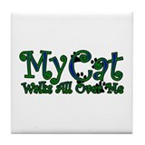 My Cat Walks All Over Me Tile Coaster