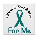 Teal Ribbon For ME 4 Tile Coaster