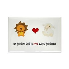 Lion and Lamb - Fell in love Rectangle Magnet