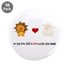 "Lion and Lamb - Fell in love 3.5"" Button (10 pack)"