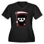 Grim Reaper Women's Plus Size V-Neck Dark T-Shirt
