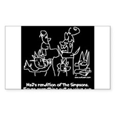 Art By M2J - The Simpsons - B Sticker (Rectangular