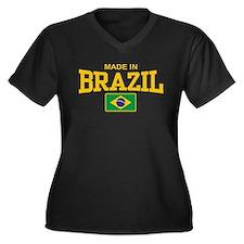 Made in Brazil Women's Plus Size V-Neck Dark T-Shi