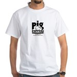 White T-Shirt - Pig Poppers Logo - 1980's