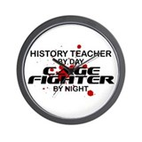 History Tchr Cage FIghter by Night Wall Clock