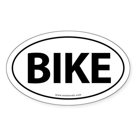 Bike Traditional Auto Sticker -White (Oval)