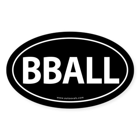 BBALL Traditional Auto Sticker -Black (Oval)