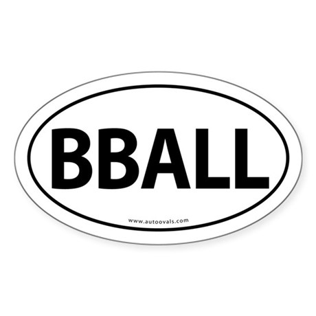 BBALL Traditional Auto Sticker -White (Oval)