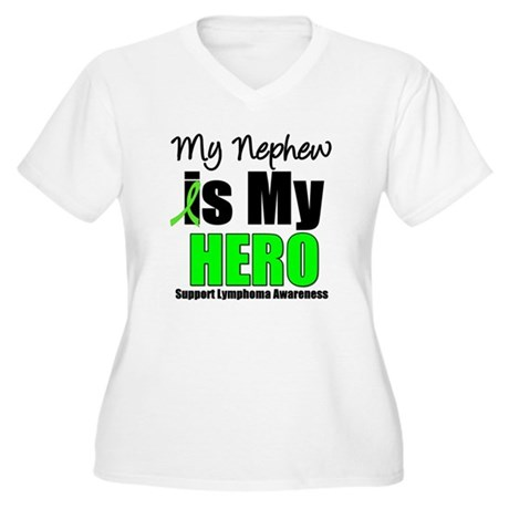Lymphoma Hero (Nephew) Women's Plus Size V-Neck T-