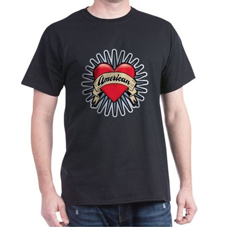 American Tattoo Heart Dark T-Shirt