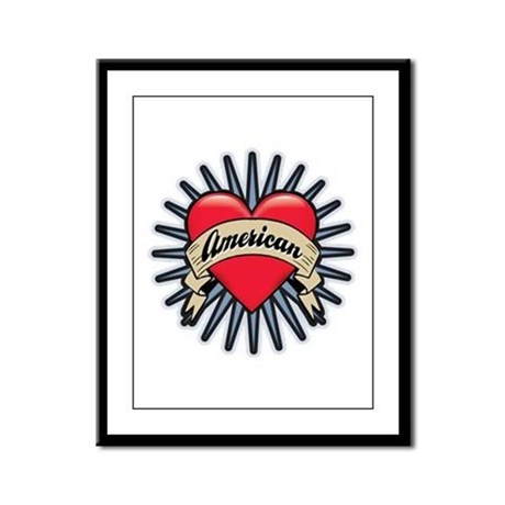 American Tattoo Heart Framed Panel Print