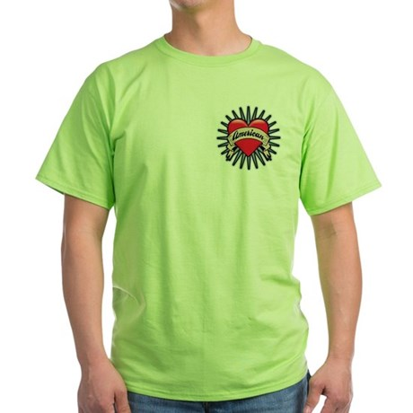 American Tattoo Heart Green T-Shirt
