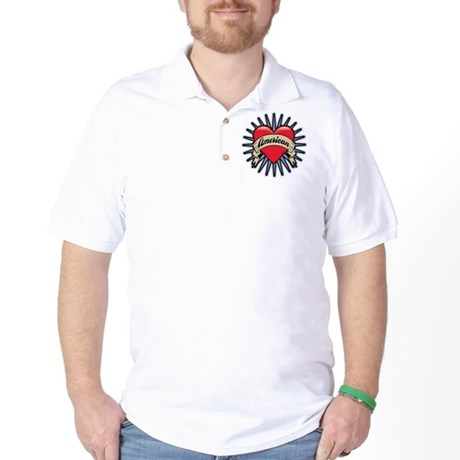 American Tattoo Heart Golf Shirt