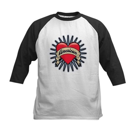American Tattoo Heart Kids Baseball Jersey