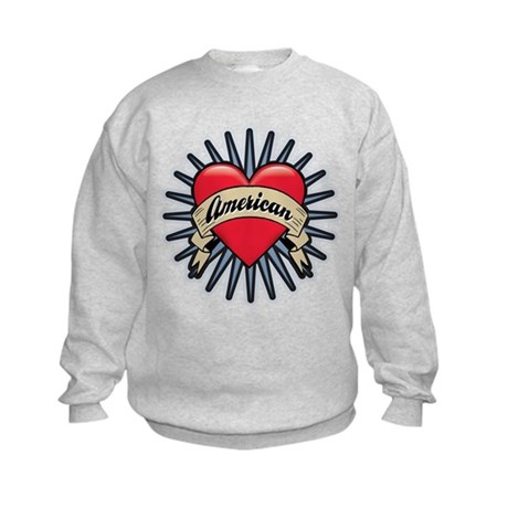 American Tattoo Heart Kids Sweatshirt