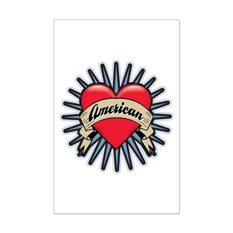American Tattoo Heart Mini Poster Print