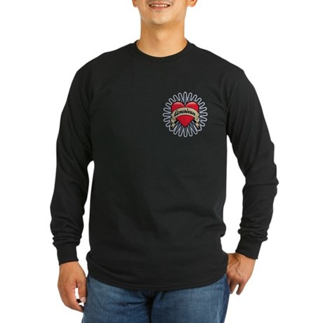 American Tattoo Heart Long Sleeve Dark T-Shirt