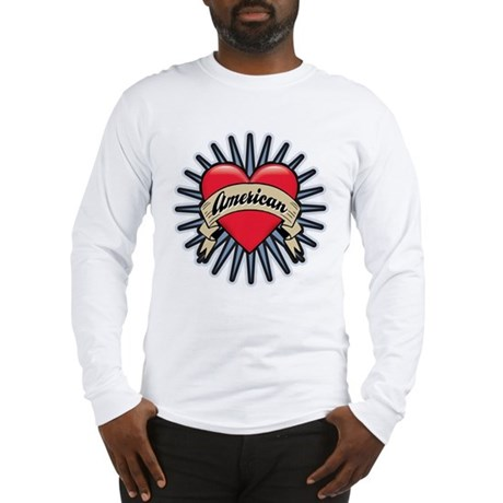 American Tattoo Heart Long Sleeve T-Shirt