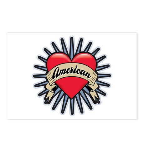 American Tattoo Heart Postcards (Package of 8)
