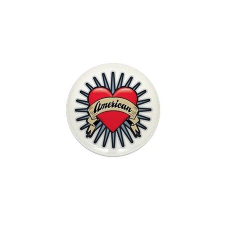 American Tattoo Heart Mini Button (10 pack)